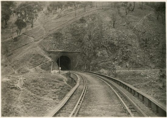 Close up of the beginning of viaduct No. 1 and southern entrance of tunnel No. 2. (c.1919)