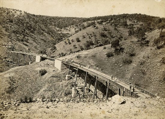 View of the partially completed viaduct over Wattipparringga Creek. (c.1882)