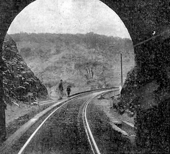 View of the railway line from the mouth of Tunnel No. 2. (c. 1919)